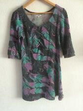 Culture Dress Size 8  3/4 Sleeve Multi Colour Feather Print  R839