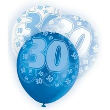 "6 Blue Sparkle Happy 30th Birthday 12"" Pearlized Printed Latex Balloons"