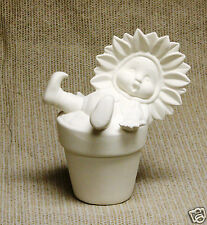 Ceramic Bisque Sunflower Baby in Pot Dona's Mold 1430 U-Paint Ready To Paint