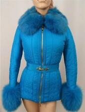 VERSACE Collection Blue Fur Down Padded Coat Jacket UK6-8 / IT40