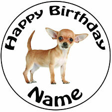 "Personalised Birthday Dog - Chihuahua Round 8"" Easy Precut Icing Cake Topper"