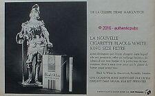 PUBLICITE BLACK & WHITE CIGARETTES MARCOVITCH CHEVALIER DE 1966 FRENCH AD PUB