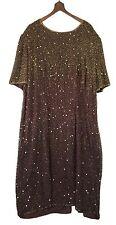 Stenay Woman 2XL Brown Beaded Sequined Knee Length Evening Dress Knee Length