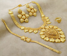 18K Goldplated 4PC Traditional Necklace Set Women Ethnic Indian New Jewelry