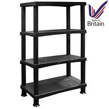 X Large 4 Tier Storage Shelves Unit Racking Plastic Indoor Living Garage BLACK