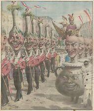 K0831 Nizza - Il corteo di S. M. il Carnevale XLVI - Stampa antica del 1924