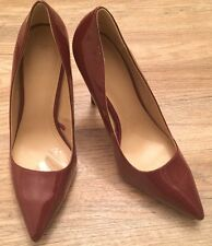 Zara Woman Shoes Size 40Uk Size 7 Maroon High Heels Pointed Patent Suede Heel