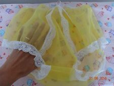 Handmade Granny knickers panties full yellow nylon sheer sissy mens size 12 UK