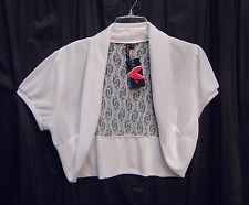 WOW~~WHITE LACE BACK OPEN FRONT BOLERO SHRUG CARDIGAN SWEATER TOP~3X~2X~1X**