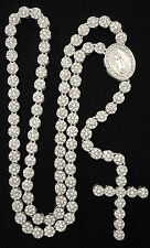 "Iced Silver Platinum CZ Cluster Rosary Jesus Cross Chain 36"" Bling Necklace"