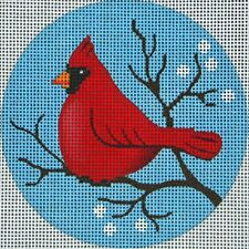 NEEDLEPOINT Handpainted Amanda Lawford CARDINAL ORNAMENT DC Designs