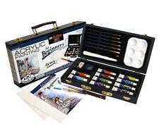 Beginner Artist Set Acrylic Painting Brushes Tool Wooden Storage Box Travel Gift