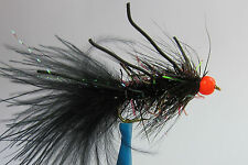 10x Mouche Streamer Wooly Bugger Noir Pattes bille orange H8/10/12 leg rubber