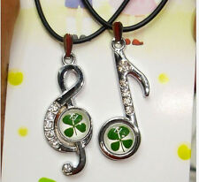2pcs musical note style four leaf clover&crystal stone lucky pendants