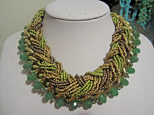 Olive Green Brown Glass Seed Bead Faceted Glass Bead Chunky Necklace