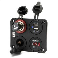 12V Car Dual Cigarette Lighter Socket & Dual USB Port Charger+ Voltmeter Lighter