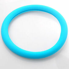 Blue Auto Car Texture Leather Soft Silicone Steering Wheel Cover Shell Ring
