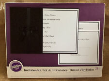 WILTON Invitation/Reply/Direction Cards Kit BLACK GLITTER Bow 25 Count Printable