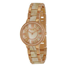 Fossil Virginia Rose Dial Rose Gold Steel and Horn Acetate Ladies Watch ES3716