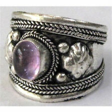 Big Adjustable Tibetan Silver Plated Natural Amethyst Gemstone Dorje Amulet Ring