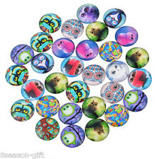 "50 Mixed Owls Glass Flatback Scrapbooking Dome Cabochons 12mm( 4/8"")"