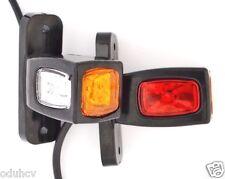 2x 12/24V LED Red/White/Amber Side Marker Lights Triple Function Truck Trailer