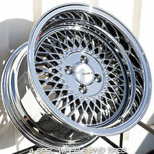 "CHROME 15X8 +25 AVID.1 AV-18 4X100 RIM FIT INTEGRA BMW E21 E10 E30 2002 2.5"" LIP"