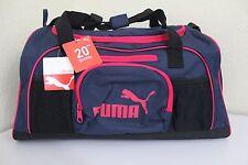 "PUMA Sport Lifestyle Women Duffel Small Gym bag Navy Blue/Pink 20"" Accelerator."