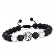 Fashion Charm Men's 8MM Matte Onyx Howlite Lion Head Beaded Macrame Bracelet A19