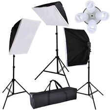 Photo Studio Video Continuous Lighting Kit Photography 3 Softbox Stand 12 bulbs