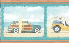 CLASSIC CARS AND VANS ON BEACH SURFING BALLS AND CHAIRS Wallpaper bordeR Wall