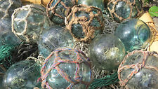 "Japanese Glass Fishing FLOATS 3"" Mixed Lot 30 Netted + Un-Netted Nautical Decor"