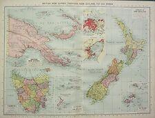 1934 LARGE MAP ~ BRITISH NEW GUINEA TASMANIA NEW ZEALAND FIHI & SAMOA