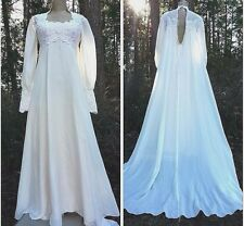Vintage 60s Empire Waist Wedding Gown Dress Size Small Chiffon Beaded Lace Sheer