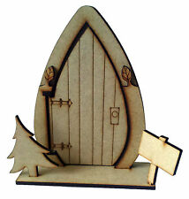 3D Opening fairy door  with tree wooden craft blank / shape - Elf door