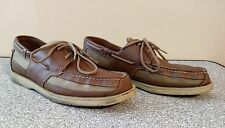 Men's Rockport Leather Deck Shoes Tan Brown With Laces Size 13M Rubber Soles Wow
