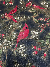 Cardinals Gold Metallic Red Berries Black Background Cotton Fabric Quilt Sew BTY