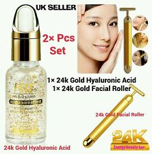 24k GOLD HYALURONIC ACID & 24K GOLD DERMA ROLLER SKIN LIFTING WRINKLE TREATMENT