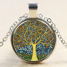 Vintage Tree of Life Cabochon Silver plated Glass Chain Pendant Necklace MS15