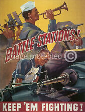 Battle Stations World War II US Navy Vintage WW2 Poster 18x24