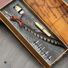 Owl Feather Metal Nibbed Pen Dip Pen Writing Quill With Ink And Steel Tips Gift