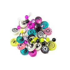 "Lot of 20 Mixed Acrylic Logo Belly Rings 316L Surgical Steel 14ga-3/8""(10mm)"