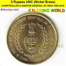 COMPTROLLER & AUDITOR GENERAL OF INDIA Ni-Brass 1860-2010 UNC 5 Rupees Five Rs 5