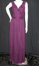AMSALE FORMAL GOWN DRESS SIZE 12 EGGPLANT PURPLE SILK CHIFFON CRUISE PROM  $310