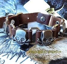 Men Cool SKULL Motorcycle Rider Surfer Hip Hop Leather Bracelet Wristband