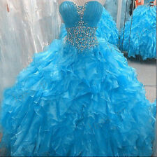 Sexy Blue Ball Gown Prom Dress Quinceanera Dress Sweet 16 Pageant Formal Gowns