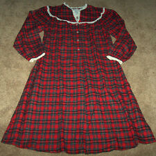 NWT Lanz of Salzburg Red Plaid Flannel Nightgown Pajamas LACE Ladies M XMAS Gift