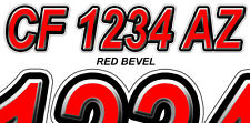 RED BEVEL  Boat Registration Numbers or PWC Decals Stickers Graphics