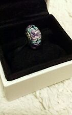Genuine Pandora Murano Glass Charm Bead with blue and purple Flowers S925 ALE