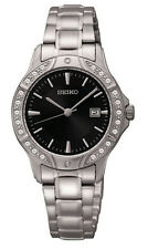 Seiko Women's Quartz Crystal Accented Silver Tone Stainless Steel Watch SUR877